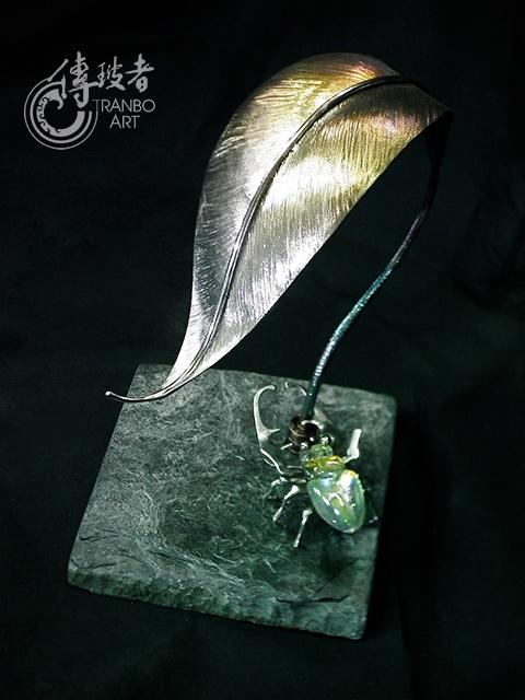 2016年臺灣工藝競賽「美術工藝組 新光三越特別獎」:鐵樹銀杏之動與靜-昆蟲三件組