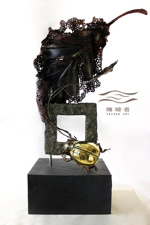 (銅葉與金龜-正面)2019年臺灣工藝競賽入選作品「動靜之間」