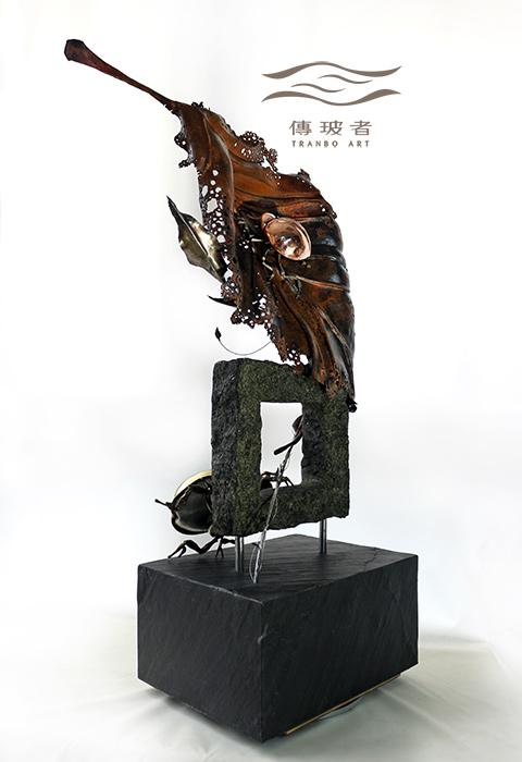 (銅葉與金龜-左後斜側)2019年臺灣工藝競賽入選作品「動靜之間」