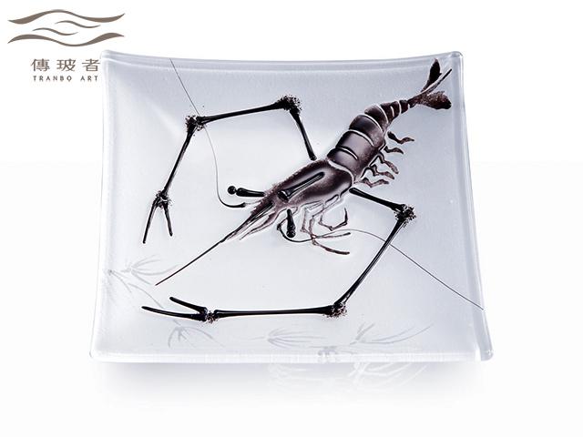 琉璃盤飾-墨蝦A款 尺寸15x15cm 售價/個NT$10,000