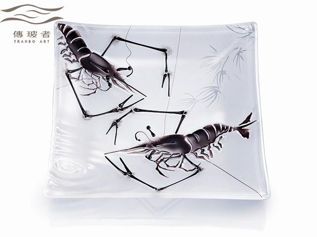 琉璃盤飾-墨蝦B款 尺寸20x20cm 售價/個NT$16,000
