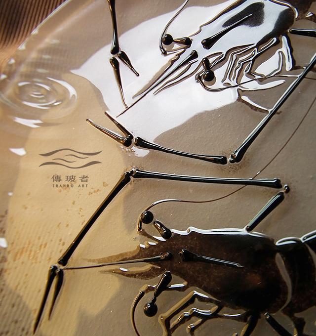 琉璃盤飾-墨蝦C款特寫