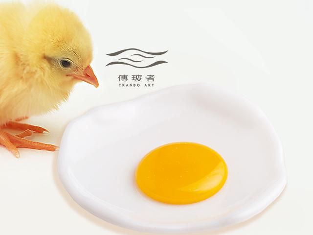 琉璃盤飾-荷包蛋系列-白蛋 尺寸11.5cm