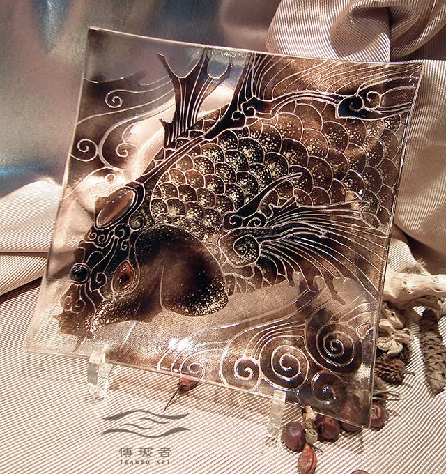 琉璃盤飾-躍龍門系列A款 尺寸20x20x2cm