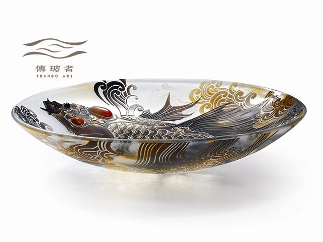 琉璃盤飾-躍龍門系列B款 直徑36cm