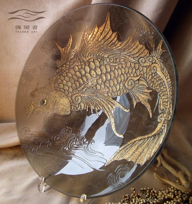 琉璃盤飾-躍龍門系列C款 直徑36cm