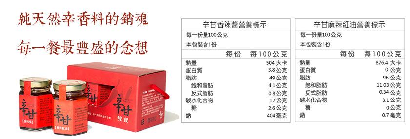 勝利廚房-辛甘雙寶-香辣醬+麻辣紅油營養標示
