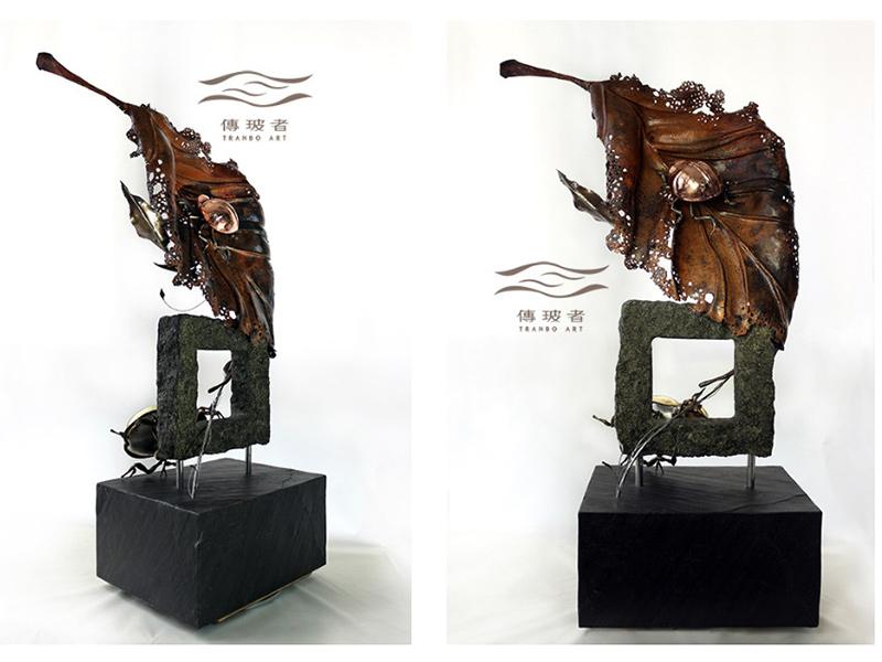 傳玻者-2019年臺灣工藝競賽入選作品:動靜之間-鋼葉與蝸牛、銅葉與金龜